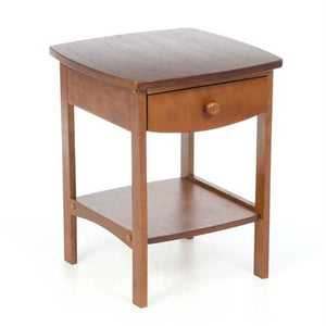 Walnut Wood Finish 1-Drawer Bedroom Nightstand Bedside Table