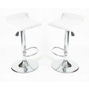 Set of 2 - Modern Chrome Air Lift Swivel Bar Stool with White Seat
