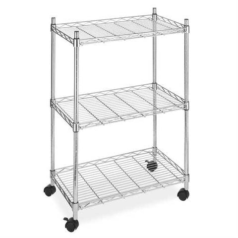 Image of 3-Tier Metal Cart on Wheels for Kitchen Microwave Bathroom Garage