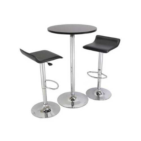 Set of 2 Modern Air-Lift Adjustable Bar Stools with Black Seat