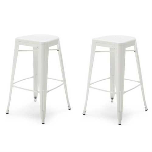 Set of 2 - White Modern Metal Bar Stools