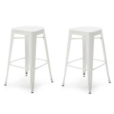 Image of Set of 2 - White Modern Metal Bar Stools