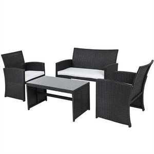 Black Resin Wicker 4-Piece Outdoor Patio Furniture Set with White Padded Seat Cushions