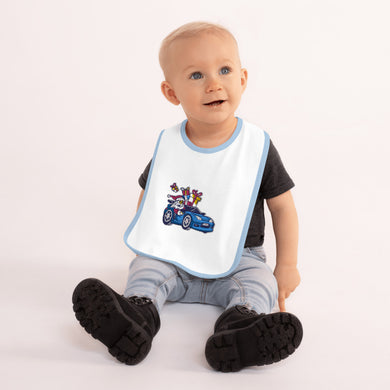 Santa Driving NSX BLUE - Embroidered Baby Bib