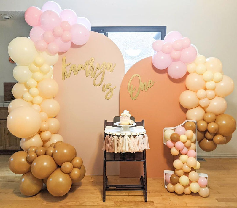 16ft Pink, Ivory, Blush and Caramel Balloon Arch and Garland Kit with Matching Tassels