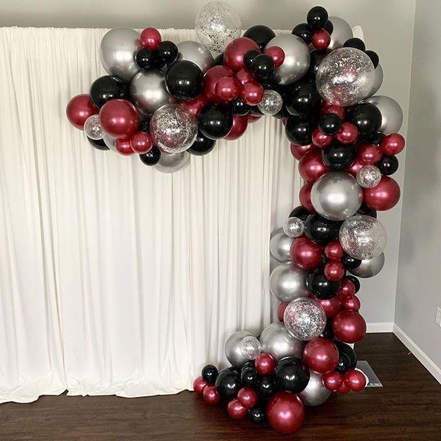 16ft Burgundy, Black And Chrome Silver Balloon Arch And Garland Kit