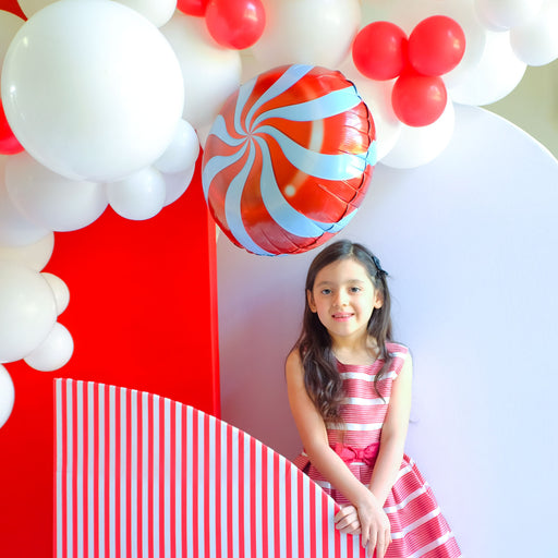 16ft Red and White Christmas Balloon Arch and Garland Kit with Candy, Candy Cane and 4D Gift Balloons