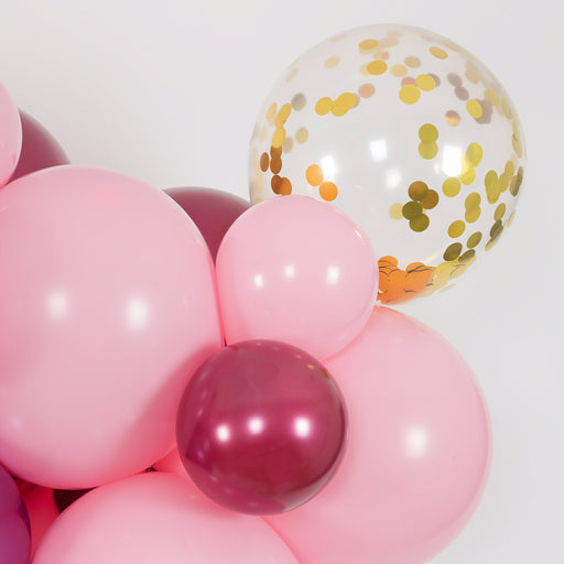 Balloon Garland - Bubblegum Pink, Burgundy And Mauve Balloon Arch And Garland Kit (5, 10, 16 Foot)