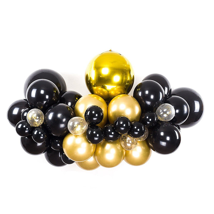 Balloon Garland - Deluxe Black And Gold Balloon Arch And Garland Kit (5, 10, 16 Foot)