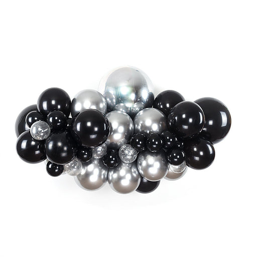 Balloon Garland - Deluxe Black And Silver Balloon Arch And Garland Kit (5, 10, 16 Foot)