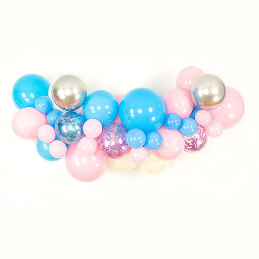 Balloon Garland - Pink, Blue, Ivory And Silver Gender Reveal Balloon Arch And Garland Kit (5, 10, 16 Foot)