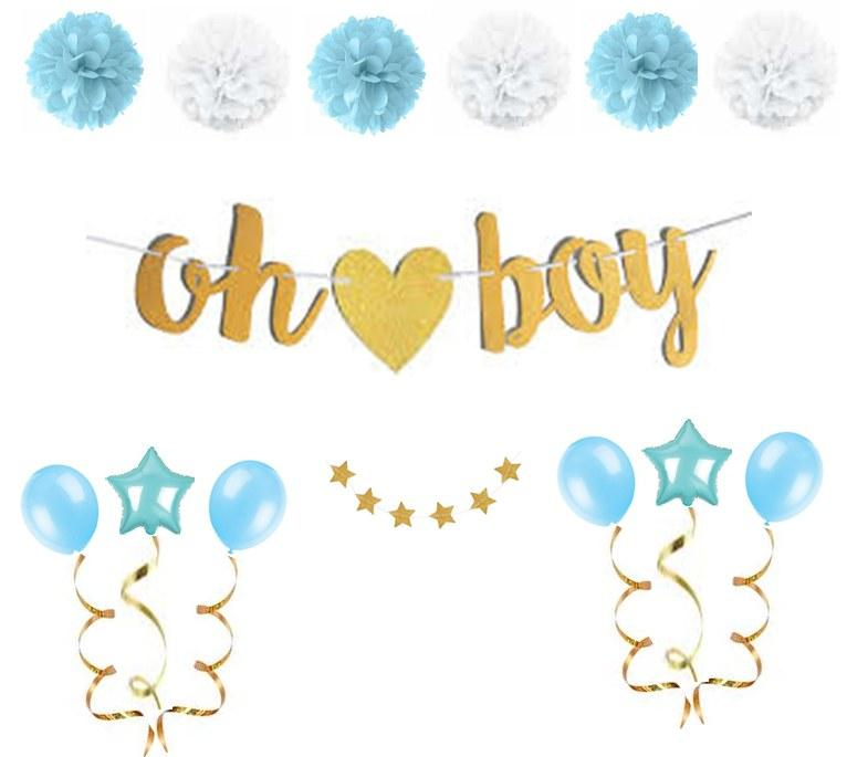 "Balloons - 17pc Blue And Gold ""oh Boy"" Baby Shower Decorations For Boy"