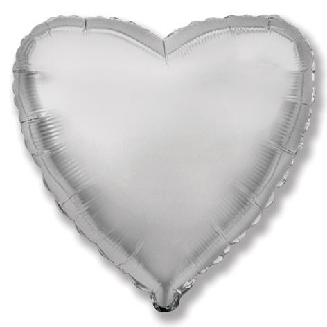 Balloons - 18-inch Silver Heart-Shaped Foil Balloon