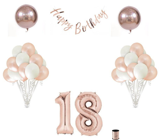Balloons - 18th Birthday Balloon Decoration Set - Rose Gold