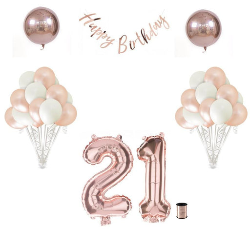 Balloons - 21st Birthday Balloon Decoration Set - Rose Gold