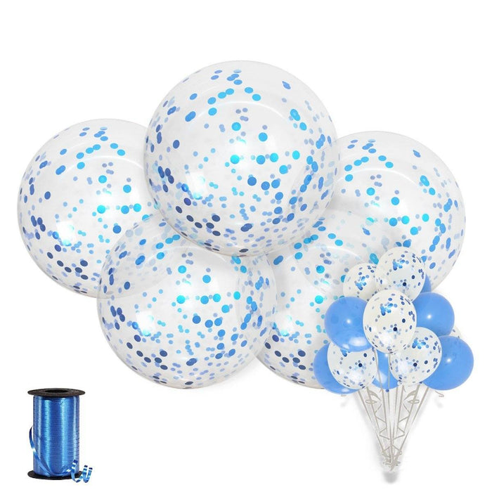 Balloons - 36-inch Giant Blue Confetti Balloons 15ct