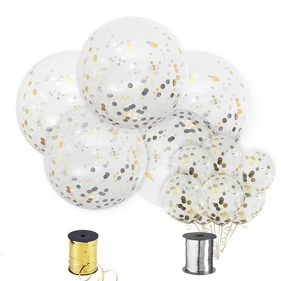 Balloons - 36-inch Giant Gold And Silver Confetti Balloons 12ct