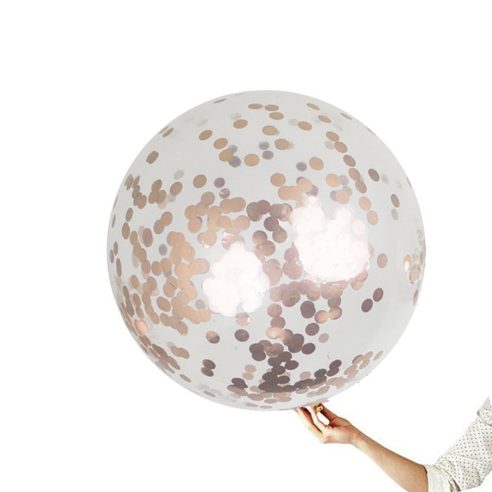Balloons - 36-inch Giant Rose Gold Confetti Balloons 15ct