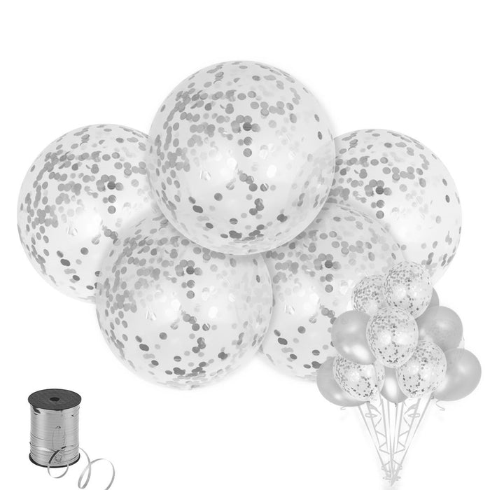 Balloons - 36-inch Giant Silver Confetti Balloons 15ct