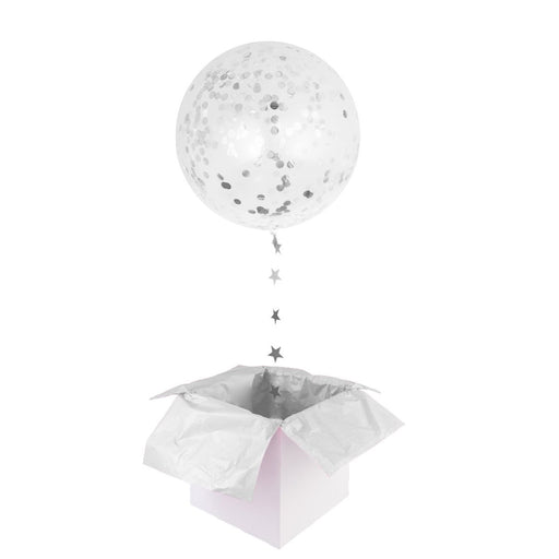 Balloons - 36-inch Giant Silver Confetti Balloons