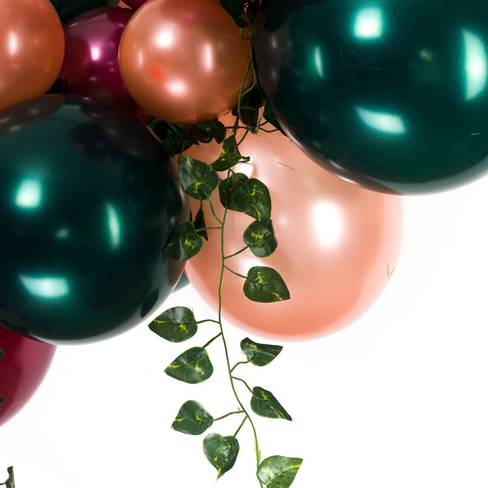 Balloons - Forest Green, Burgundy And Rose Gold Balloon Arch And Garland Kit With Ivy Leaves (5, 10, 16 Foot)