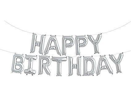 Balloons - Happy Birthday Foil Balloon - Silver