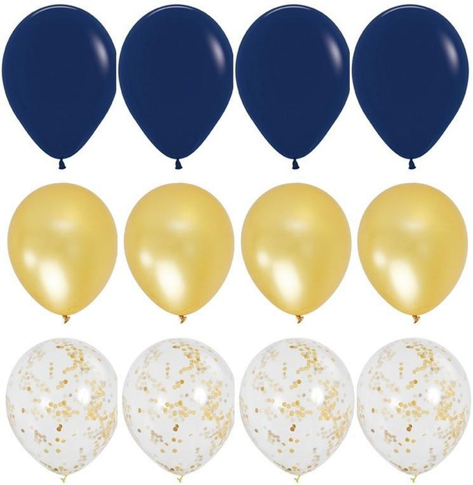 Balloons - Navy Blue And Gold Balloon Bouquet - 24ct