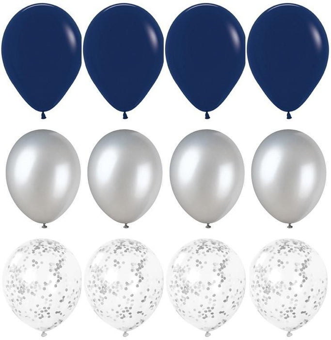 Balloons - Navy Blue And Silver Balloon Bouquet - 24ct