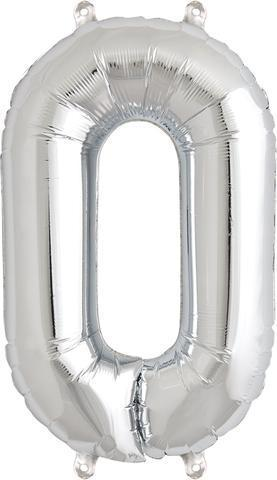 Balloons - Number 0 Foil Birthday Balloon - Silver
