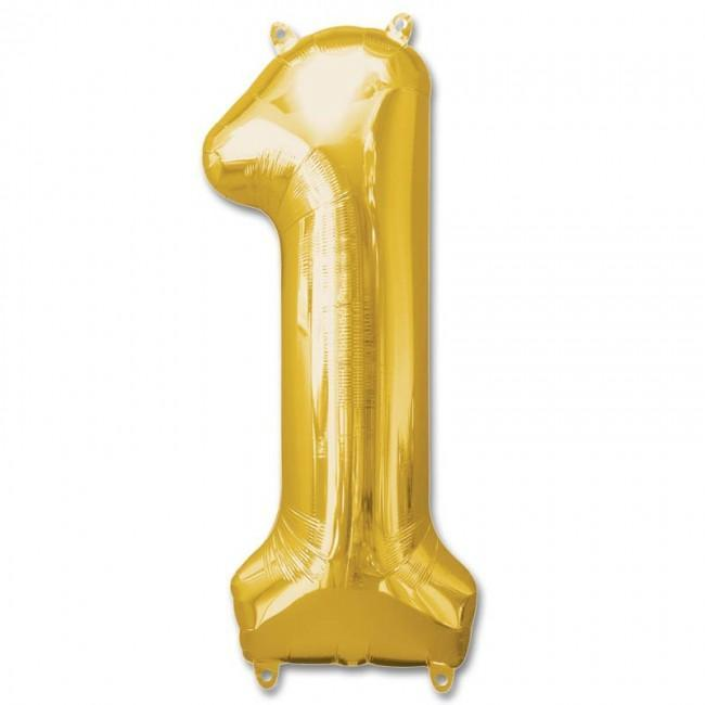 Balloons - Number 1 Foil Birthday Balloon - Gold