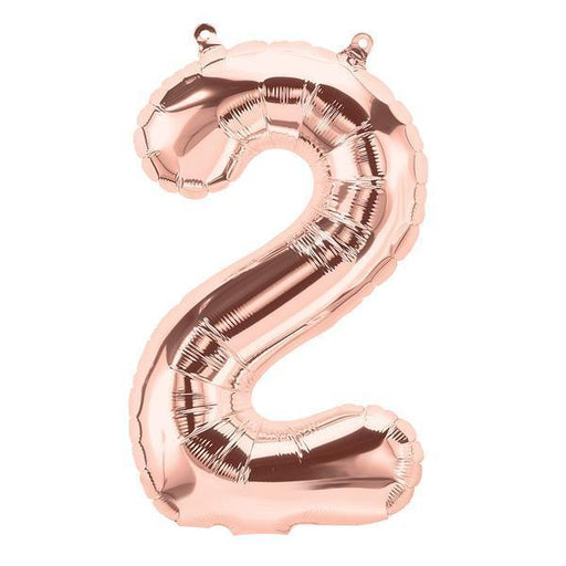 Balloons - Number 2 Foil Birthday Balloon - Rose Gold