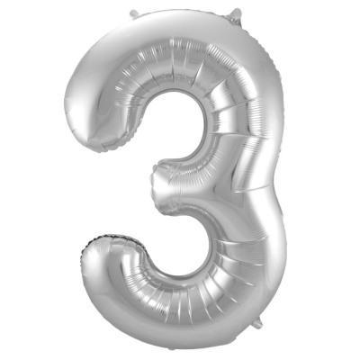 Balloons - Number 3 Foil Birthday Balloon - Silver