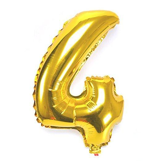 Balloons - Number 4 Foil Birthday Balloon - Gold