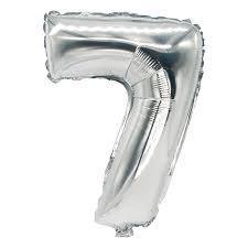 Balloons - Number 7 Foil Birthday Balloon - Silver