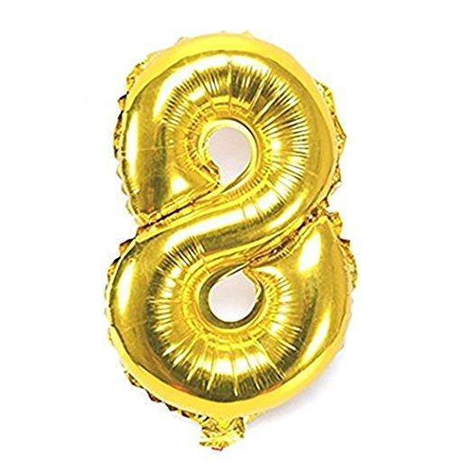 Balloons - Number 8 Foil Birthday Balloon - Gold