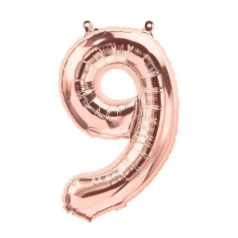 Balloons - Number 9 Foil Birthday Balloon - Rose Gold
