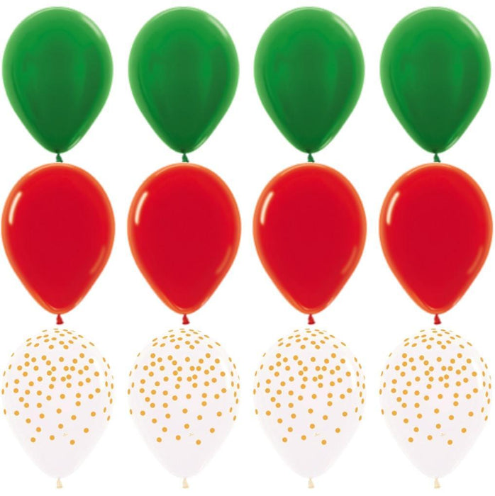 Balloons - Red Green And Gold Balloon Bouquet