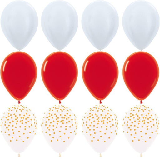 Balloons - White Red And Gold Balloon Bouquet