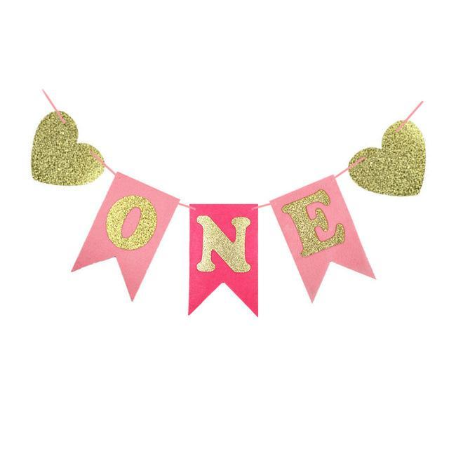 Banners - First Birthday High Chair Banner - Pink And Gold
