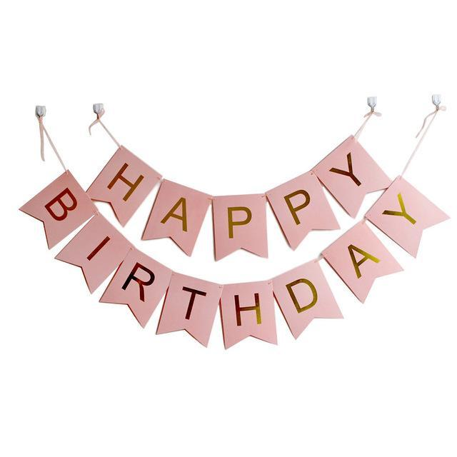 Banners - Happy Birthday Banner - Pink