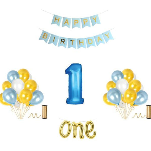 Decoration Kits - 1st Birthday Balloon Decoration Set - Blue And Gold