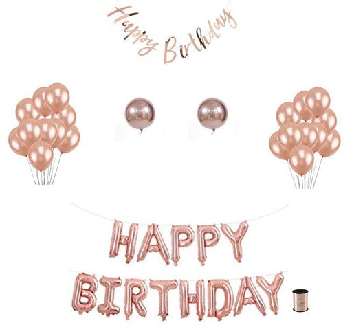 Decoration Kits - Happy Birthday Balloon Decoration Set - Rose Gold