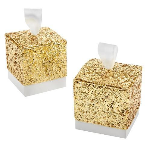 "Favor Boxes - ""All That Glitters"" Gold Glitter Favor Boxes 25ct"
