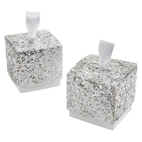 "Favor Boxes - ""All That Glitters"" Silver Glitter Favor Boxes 25ct"