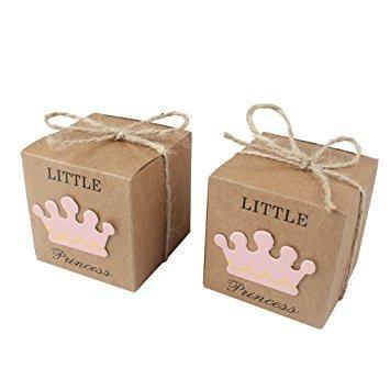 Favor Boxes - Little Princess Little Prince Favor Boxes With Pretty Kraft Tags 20ct