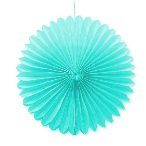 Hanging Decorations - 8-inch Baby Blue Paper Fans 2ct