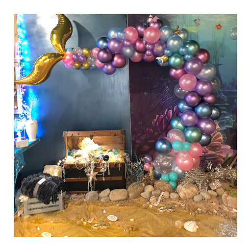 16ft Mermaid Unicorn Balloon Arch and Garland Kit with Gold Tail Fins