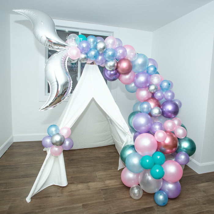 16ft Mermaid Unicorn Balloon Arch and Garland Kit with Silver Tail Fins