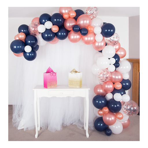 16ft Navy Blue, Rose Gold & White Balloon Arch and Garland Kit