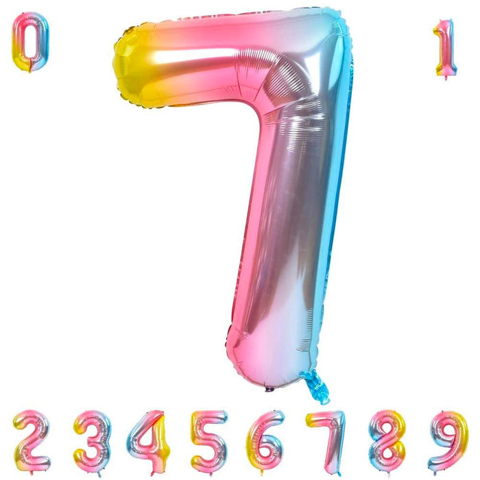 40 Inch Rainbow Number Balloons